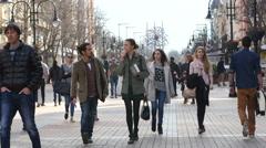 Sofia Bulgaria tourists people walking pedestrian boulevard Vitosha Stock Footage
