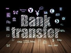 Stock Illustration of Currency concept: Bank Transfer in grunge dark room