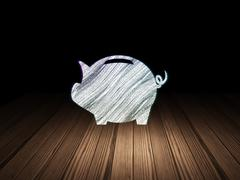 Currency concept: Money Box in grunge dark room - stock illustration