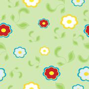 Bright floral seamless texture, endless pattern with flowers. - stock illustration