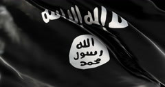Ultra realistic looping ISIS flag with detailed fabric texture Stock Footage