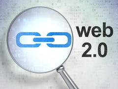 Web development concept: Link and Web 2.0 with optical glass - stock illustration
