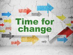 Time concept: arrow with Time for Change on grunge wall background - stock illustration