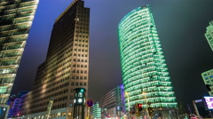 Potsdamer place, modern architecture by night hyperlapse tracking shot - stock footage