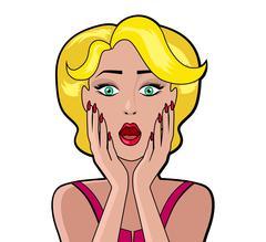 Cartoon Attractive Woman surprised Stock Illustration