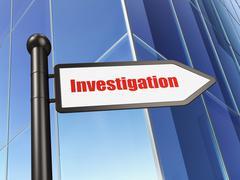Science concept: sign Investigation on Building background - stock illustration