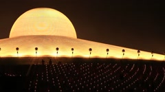 Night view of the Wat Phra Dhammakaya in Bangkok, Thailand Stock Footage