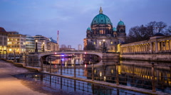 Berliner Dom in the evening tracking shot hyperlapse - stock footage