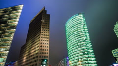 Potsdamer place, modern architecture by night hyperlapse tracking shot Stock Footage