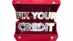 Stock Video Footage of Fix Your Credit Score Repair Toolbox Animation