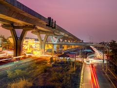 Express way construction site over road Stock Photos