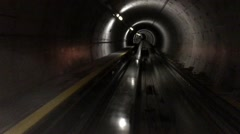 POV of subway going through a tunnel. Stock Footage