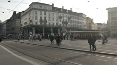 Streets of Zurich, Switzerland as the sun peers through the clouds Stock Footage