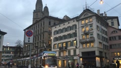 Tram going down a street in Zurich, Switzerland. Stock Footage