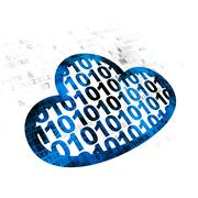 Cloud technology concept: Cloud With Code on Digital background Stock Illustration