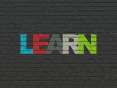 Learning concept: Learn on wall background Stock Illustration