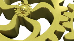 Golden gear rotating on a white background Stock Footage