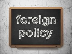 Politics concept: Foreign Policy on chalkboard background - stock illustration