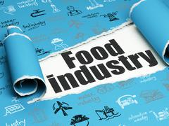 Manufacuring concept: black text Food Industry under the piece of  torn paper - stock illustration