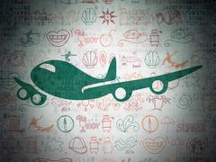 Vacation concept: Airplane on Digital Paper background Stock Illustration