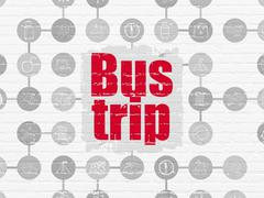 Vacation concept: Bus Trip on wall background - stock illustration