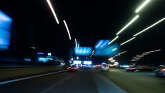 Driving Car On Road In Night City Stock Footage