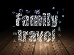 Travel concept: Family Travel in grunge dark room Stock Illustration