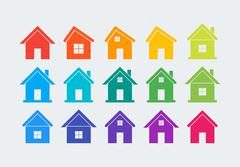 15 colored house icons Stock Illustration