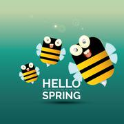 Hello spring . cartoon cute bright baby bee icon Stock Illustration