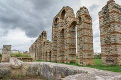 Perspective of aqueduct of the Miracles in Merida, Spain, UNESCO Stock Photos