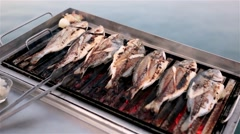 Fish on a barbecue Stock Footage