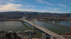 Aerial Oregon Portland Tillicum Bridge Stock Footage