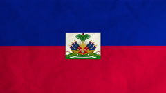 Haitian flag waving in the wind (full frame footage) - stock footage