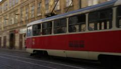Mala Strana Street Classic Tram Bell Tower- 4k - stock footage