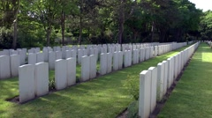 WW1 world war one cemetry war graves moving shadows Stock Footage