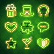 St Patricks Day Glowing Neon Signs Set - stock illustration