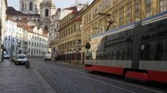 Mala Strana StreetModern Tram Bell Tower- 4k Stock Footage