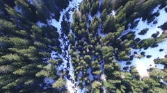 Snow Covered River. Winter landscape Stock Footage
