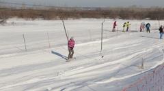 "TYUMEN , RUSSIA - February 21, 2016, The ski resort "" Voroninsky coaster"" in the - stock footage"