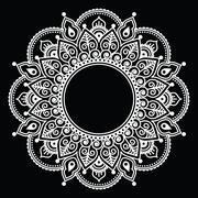 Stock Illustration of Mehndi lace, Indian Henna white tattoo round design or pattern