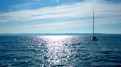 Sea view in sunny day. Dark blue sea Stock Footage