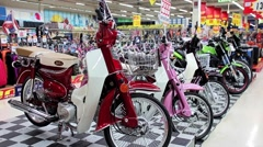 New motorcycles in the store Stock Footage