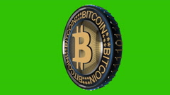 Seamless Looping Bitcoin Close Up With A Blue Glow On A Surface Stock Footage