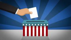 US Presidential Election 2016 Trump vs Clinton - voting in the ballot box Stock Footage