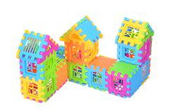 Multi color building pieces block create house isolated on white background Stock Photos