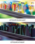 Cityscape- Day and night - stock illustration