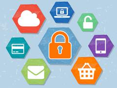 Padlock and internet signs in grunge flat design hexagons labels infographic, Stock Illustration