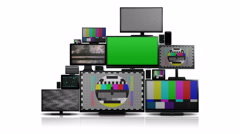 Many different types of screens with no signal - stock footage