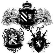 ornamental heraldic shields - stock illustration