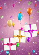 Birthday card with balloons and gift Stock Illustration